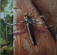 """""""Dragonfly"""" Canvas Panel Original oil Still life 8x8"""""""
