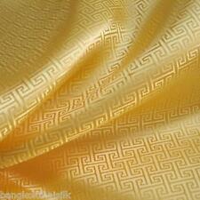 GOLD YELLOW WIND SWIRL BROCADE FAUX SILK SHANTUNG FABRIC 4 DRESS BLOUSE ORIENTAL