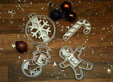 FORMINE per biscotti di Natale-Pupazzo di neve, Candy Cane, Pallina, GINGER BREAD MAN