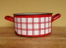 vintage French enamel ware lustucru red check saucepan casserole planter