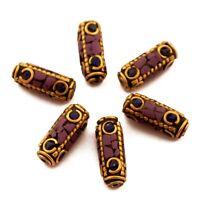 Lapis Purple Howlite Brass 6 Beads Tibetan Nepalese Ethnic Handmade Nepal UB66