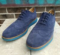 Cole Haan Grand OS Mens Blue Wingtip Suede Oxford Shoes Sz 10 M