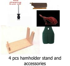 4PC CHRISTMAS SALE serrano iberian Ham Holder Stand +cover + sharpener RRP 59.99