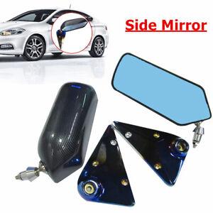 Racing Style Adjustment Retro Rear View Mirror Carbon Fiber Look Car Side Mirror