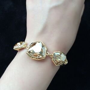 Statement Bracelet Made With Swarovski Crystals Champagne Gold Crystals Bangle