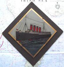 Old RMS Mauretania Lusitania Crystoleum Glass Plaque