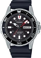 Casio MTP-S110-1AV, Men's Watch, Black Resin, Black Dial, Date, Solar Battery