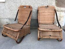 ancienne paire de fauteuils de plage en rotin rattan chair