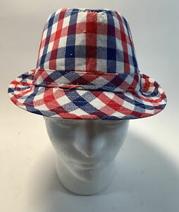 Red and Blue Checkered  Size 58 Fedora