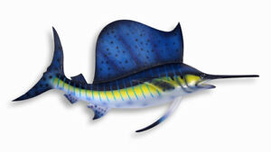 """Hand Painted 18"""" Blue Stripe Sailfish Game Fish Wall Mount Decor Sculpture 762S"""