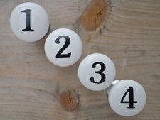 4tlg. Möbelgriff Numbers Porzellan weiß Schrankknopf mit Zahlen 1-4 Schrankgriff