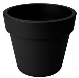 Extra LARGE 47cm Round Barrel Planter Plastic Plant Pot Black 42 Litre