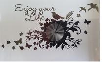 Wandtattoo Blume, Vögel, Schmetterling - Enjoy your Life-  + Wanduhr Quarzuhr