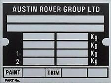 CLASSIC MINI 'AUSTIN ROVER GROUP LIMITED' CHASSIS PLATE (INCLUDING STAMPING)