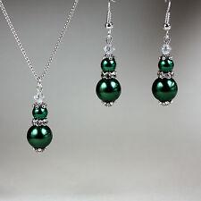 Dark green vintage crystal pearl necklace earrings silver wedding bridesmaid set