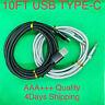 10FT Aluminium USB-C Type-C 3.1 Data Sync Charging Cable S8,S9 Nylon Braided
