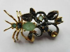 ARTISAN CRAFTED ZAMBIAN EMERALD & SAPPHIRE SPIDER BROOCH 925 STERLING SILVER
