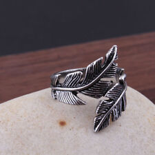 1pc Adjustable Feather Open Ring Stainless Steel Vintage Jewelry for Man Woman