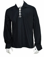 Schottisch Schwarz Jakobiten Ghillie Kilt Hemd Lederband Größe S,M,L,XL,XXL