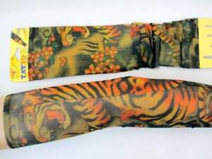 Pair of Tattoo Sleeves - Tiger Design - Fancy Dress Costume Accessory