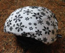 Ski & Sport Helmet cover by Shellskin. Black/White Snowflake print Spandex.1Size