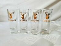 Tequila Shot Glasses Cazadores 100% de Agave Gold Stag Double Tall Set of 4
