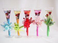 Glass cup Jelly Candle Rose flowers with light Party Home Decor Brand New 25cm