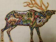Sue Coccia Animal Spirits Elk Fabric Panel Block 14.5 x 11.5 inches