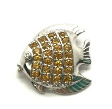 Sterling Silver Yellow Citrine Pave / CZ Eye Fish Water Ocean Nautical Pendant