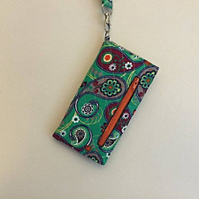Paisley Quilted Wristlet, Cell Phone Wallet, Green Wallet, Clutch