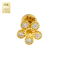 14K REAL Solid Gold Lucky Chain CZ Helix Cartilage Earring Tragus Stud Ring 18G