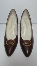 Womens Vtg Caressa Brown Heels Gold Trim Size 8N Spain