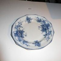 GREAT VINTAGE  IRONSTONE FLOW BLUE LUNCHEON PLATE WITH GRAPE VINE DESIGN