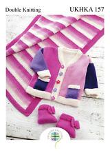 UKHKA 157 Baby Jacket, Pram Rug, Bootees DK Knitting Pattern 0 - 12mths