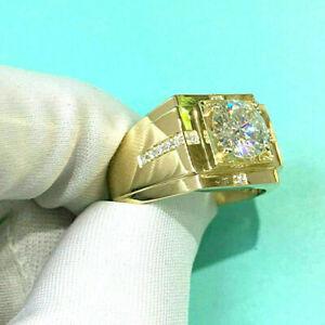 Men's 2 CT 10k Yellow Gold Over Diamond Wedding Band Engagement Pinky Ring