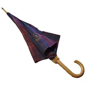 Vintage Polo Ralph Lauren Burgundy Plaid GOLDEN PONY Doorman Hook Umbrella Read