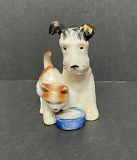 Vintage Japan Porcelain Orange Tabby Cat Dog Terrier Bowl Figurine~Clover Mark