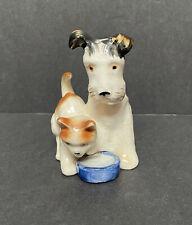 Vintage Japan Porcelain Orange Tabby Cat Dog Terrier Bowl Figurine~Clover Mark