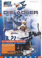 PLAY OFF FINALE Programm: ADLER MANNHEIM - KÖLNER HAIE, 21.04.2002, SAISON 01/02