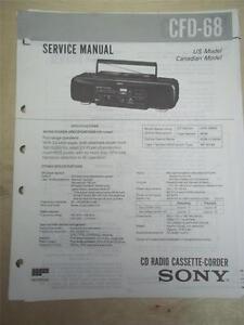 Sony Service Manual~CFD-68 CD Cassette-Corder Boombox~Original~Repair