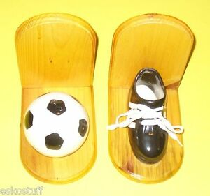 Pair of Ceramic & Wood Soccer Ball & Shoe Bookends Nice See!