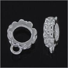 2x Sterling Silver European Bracelet Pendant Charm Cord Connector 7.8mm #97249