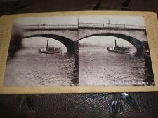 Stereoview photograph Waterloo Bridge London by Permanent Stereoscopic 1880s