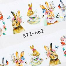 Easter Watercolour Bow Bunny Nails Nail Art Decals Water Transfers Stickers A662