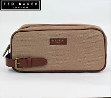 Ted Baker Mens Canvas Weekend Sports Wash Bag Gym Travel Gift Leather Handle