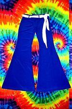 3✪ 70er Jahre Blumenkinder Hippie Mega Schlaghose Boney M Kostüm blau Gr S - M