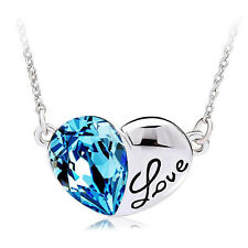 Lovely 18K White Gold Plated Love Gift Heart Crystal Pendant Necklace NF18