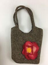 Felted Wool Brown Bucket Handbag Purse Bag Flower Accent Handmade
