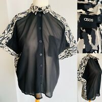 Asos Black Camouflage Button Up Shirt Sheer Front Camo Collared Blouse Size 10