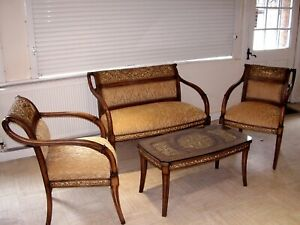 3 Pieces Beech Wood Brass Resin Suite, Sofa, love seat, Armchair + Coffee Table